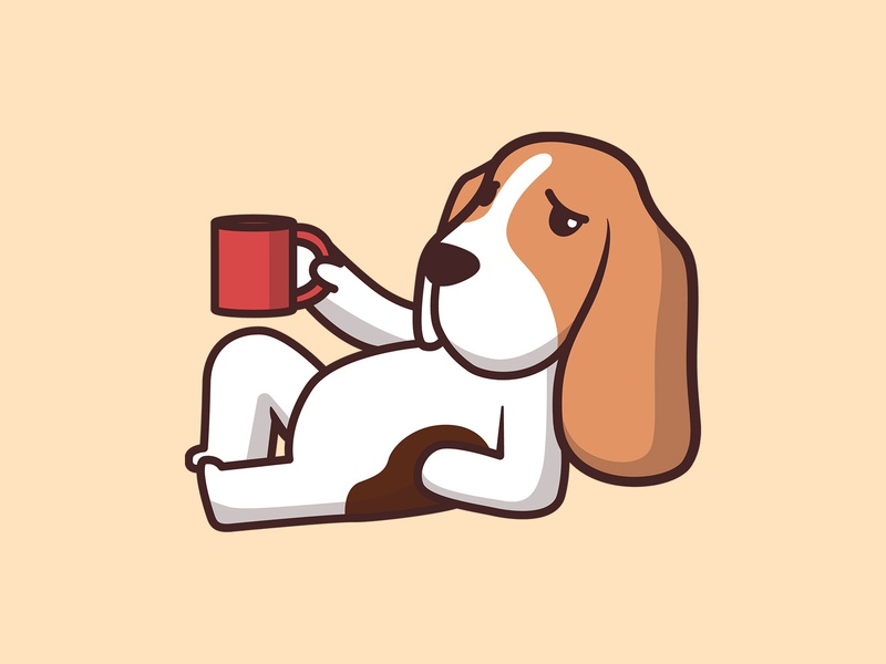 Cute Baset Hound art cute illustration basset hound cute animal artwork animal character cartoon adorable branding