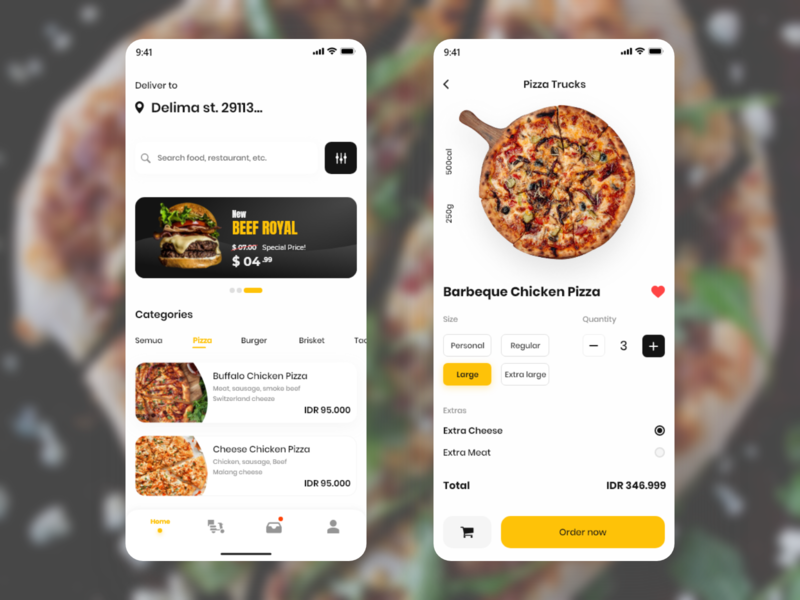 Food Delivery App delivery app burger pizza adobe xd food user experience userinterface mobile app