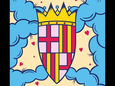 Coat of arms of Barcelona flash catalan sky barcelona flag vector illustrator tattoo illustration