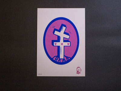 "🏴✊ ""Resistance !"" ✊🏴 middleage pink paper cross silkscreen print silkscreen poster resistance illustrator tattoo illustration"