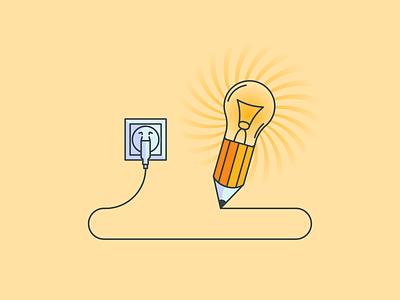 Idea Pencil yellow light bulb ideas idea minimal design vector illustrator illustration flat