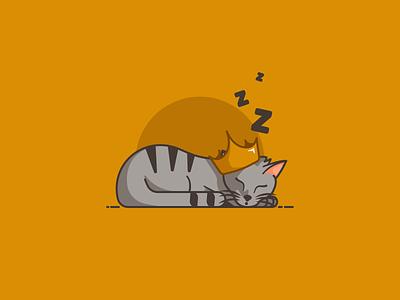 Cat King crown king sleeping sleep cats cat minimal design vector illustrator illustration flat