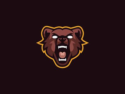 Bear Mascot Logo furry brown yellow bear logo bears bear mascotlogo mascot logo mascot logo minimal design vector illustrator illustration flat
