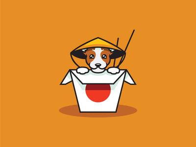 Dog of Chinese food chinese culture brown orange dogs chinese food chinese dog flat illustration illustrator
