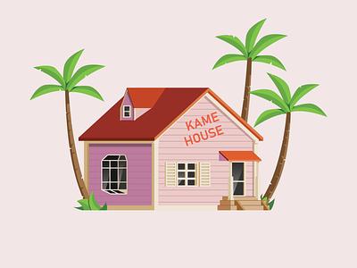 Kame House roshi master dragon ball z ball dragon dragonball house illustration house kame kamehouse minimal vector illustrator illustration flat