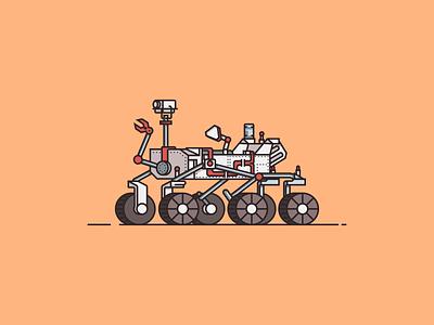Mars Rover Illustration minimal red white orange rover mars design vector illustrator illustration flat