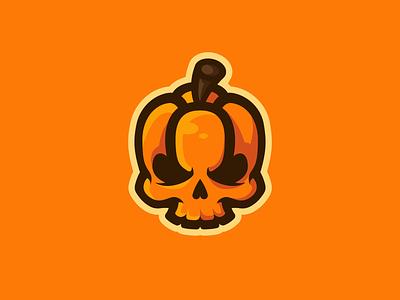 Pumpkin Skull Mascot Logo orange pumpkins pumpkin skull logo skulls skull mascotlogo mascot mascot logo logo design vector illustrator illustration