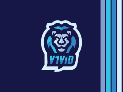 Blue Lion Mascot Logo