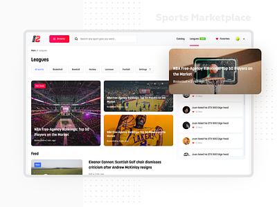 Round 2 v2 0 Leagues news content webdesign ecommerce blog sport marketplace web ux video tiles minimal listing interface design flat ui light