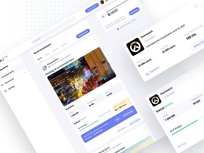 Ads manager for blockchain based social network statictics product product design network social web tiles minimal listing interface dashboard design flat ui light