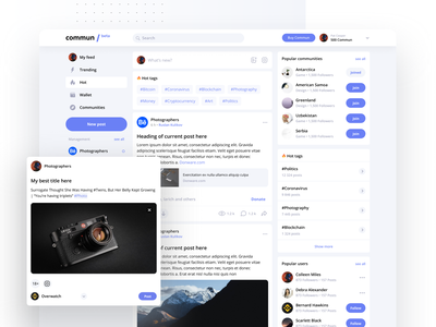 Commun Feed (Source file attached) feed uxui product website web tiles minimal listing material dashboard design ui light