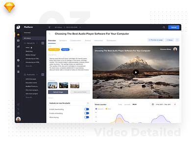 Video Platform • Video Details material flat light logo design platform uidesign video edits player left menu dark dashboard video