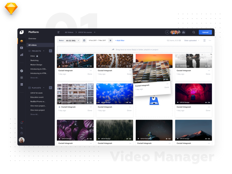 Video Platform • Video Listing catalogue uidesign material file manager manager interface dark lines tiles listing video ui light