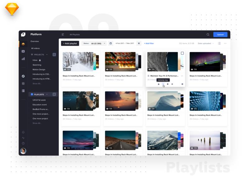 VideoPlatform • Playlist listing playlists app web ux minimal interface catalog website video tiles design listing dashboard flat ios material ui light