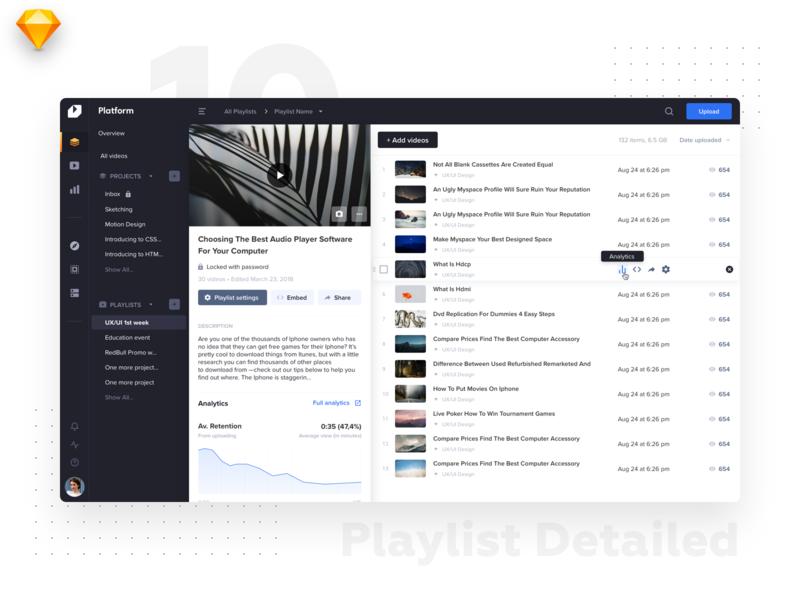 VideoPlatform • Playlist details website ux menu minimal details preview playlist ui ux interface video tiles design listing dashboard flat material ui light