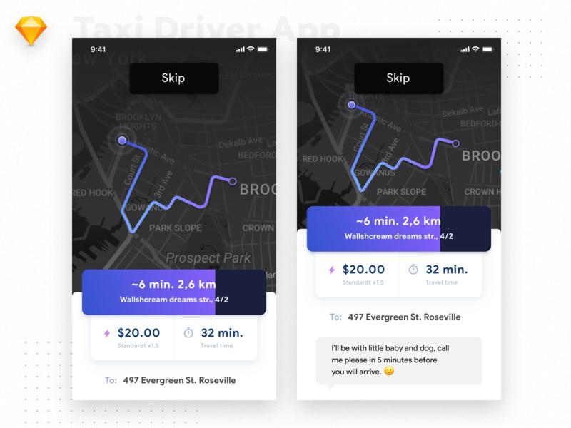 Taxi Driver App Conception maps taxi driver app app ui app  design taxi app ux minimal interface dark mobile design ios flat material ui light