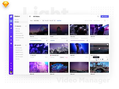 Video Manager Light Version ux app catalog minimal interface tiles video design listing dashboard ios flat material ui light
