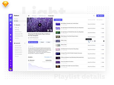 Playlist Details • Light Version design catalog ux minimal interface tiles video listing dashboard flat material ui light
