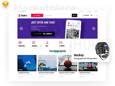 Round 2 marketplace marketplace sport uidesign main app web catalog website ux minimal tiles interface listing design ios dashboard material flat ui light