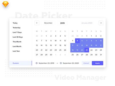 Date Picker dates date range selector dropdown ui design uikit date picker datepicker web ux minimal interface design ios dashboard material flat ui light