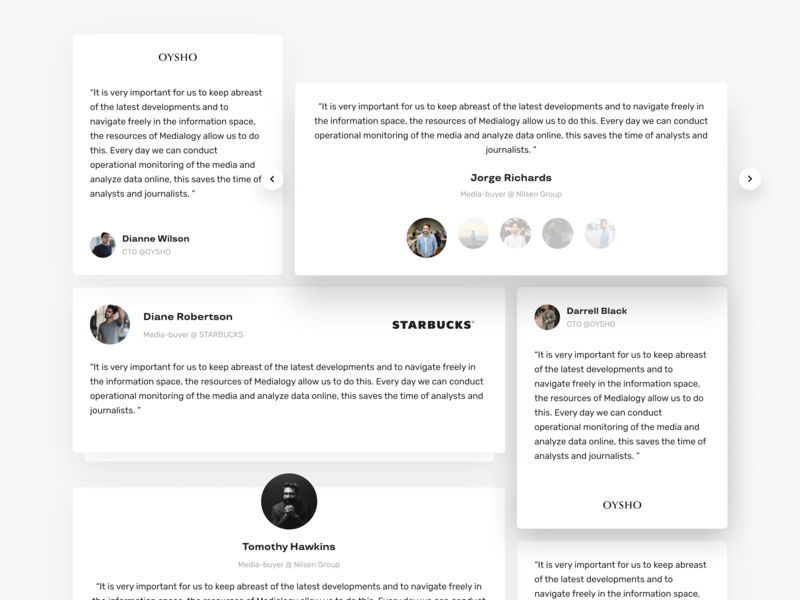 Testimonials Light & Dark crm concept catalog listing main uidesign dark app web website ux tiles minimal interface design dashboard material flat ui light