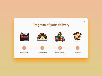 Daily UI #086 - Progress Bar 086 uikit button ui ux dailyui icon delivery progress pizza