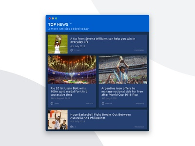Daily UI #094 - Top News 094 ui ux dailyui web news worldcup icon