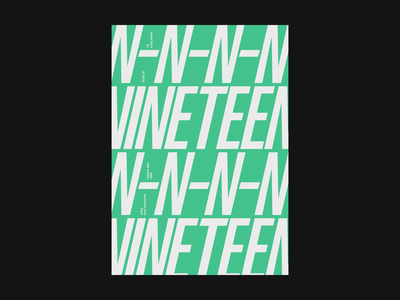 Nineteen Poster music green clean artwork minimal typography type graphic design graphic flat design print poster
