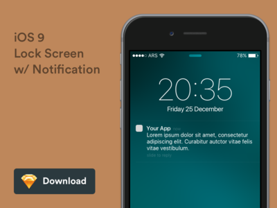 iOS 9 Lock Screen with Notification - Freebie freebie download sketch lockscreen notification ios