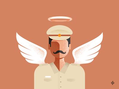 POLICE MAN - real superhero wearesafe criminal crime mustache flat india vector design illustration wings cap wars theif police home safe covid corona war again