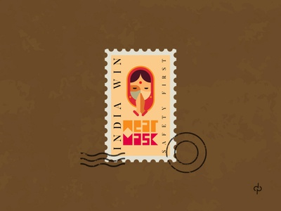 INDIA Win against Covid 19 please art traditional vector design branding illustration safety symbol graphics namaste postage logo stamp logo graphic india wear mask corona covid