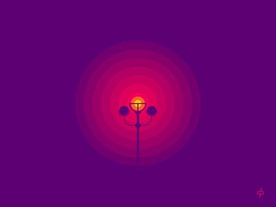CIRCLE OF LIGHT illustration negative space wheel round chakra vector dot circle center lamp light pole guide street light light