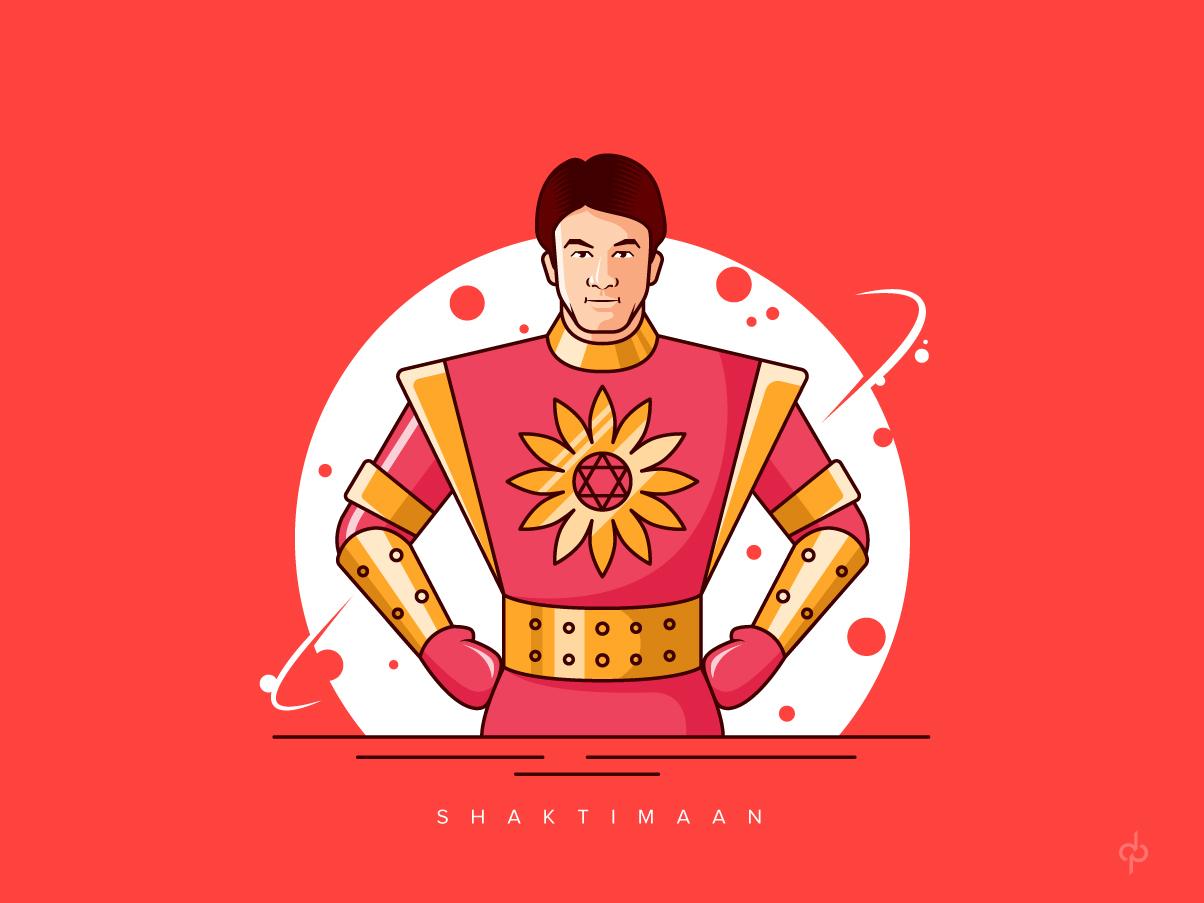SHAKTIMAAN INDIAN SUPERHERO face character vector illustration chakra design superheroes flatdesign india superhero