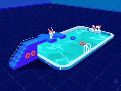 SOCIAL MEDIA POOL love fishing socila smartphone art design addiction diver swimming illustration illustrator mobile facebook