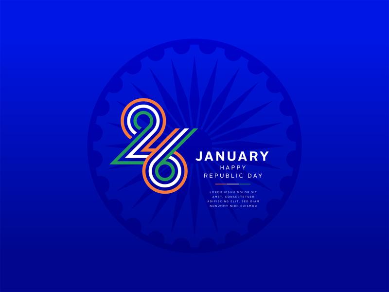 INDIA Republic day 26 january round center chakra banner proud india january 26 january republicday vector circle design illustration typography