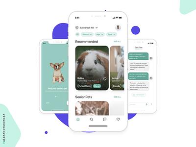 Pet Adoption Mobile Application - Product Challenge flat minimal adopt adoption pet product design product case study clean ux ui design figma