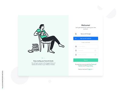 Sign Up Exploration figma illustration web app design designer freelance in progress exploration minimal popular shot ux ui clean signup books popular app