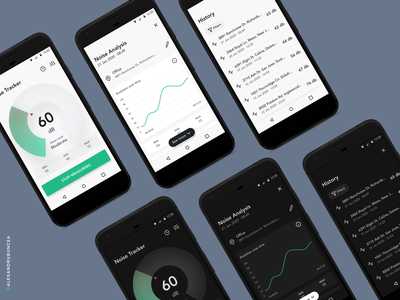 Noise Tracker flat app mobile clean design figma android material dark mode product design noise tracker ux ui