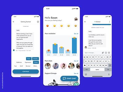Safe Place App flat mobile ux design clean app minimal mental health chat ui figma