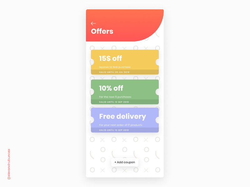 #DailyUI 061 branding minimal mobile app clean ux ui figma design promotions redeem coupon coupons redeem shopping commerce offers dailyui