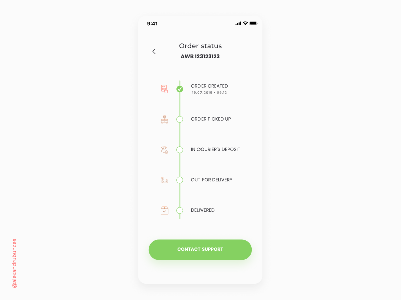 #DailyUI 079 delivery delivery status awb shipping itinerary app mobile clean ux ui figma design dailyui