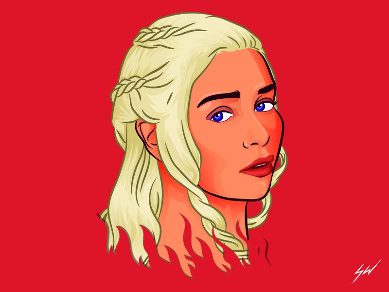 Daenerys caricature digital art fanart character portrait wacom vector illustrator illustration design