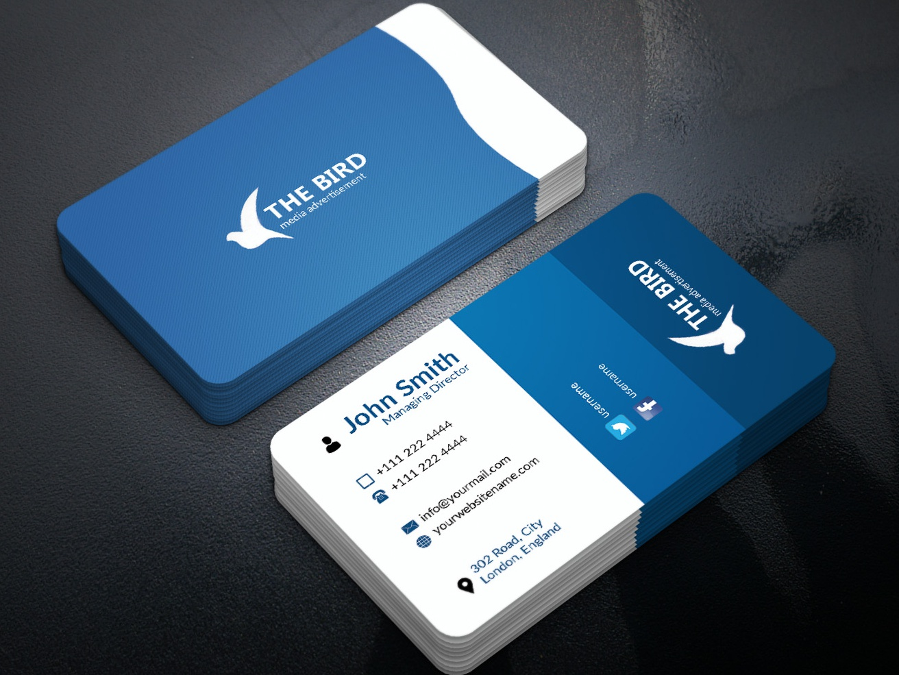 Business Card illustration 2 sided card branding photoshop visitingcard busines card