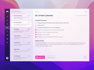 Simple app for medical clinic user interface colors messages ux healthcare web ui simple pink web app minimal flat design corporate concept color clean business clinic medical