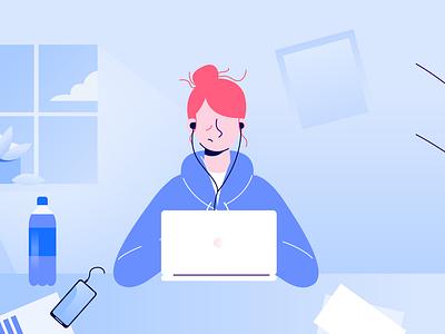 Tired Girl mental health girl flat design illustration