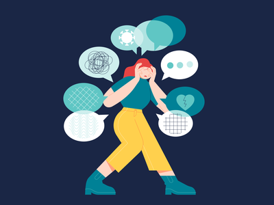 Overwhelming stressed stress many things mental health awareness mental health toughts stop overwhelming annoyed mentalhealth girl flat design illustration