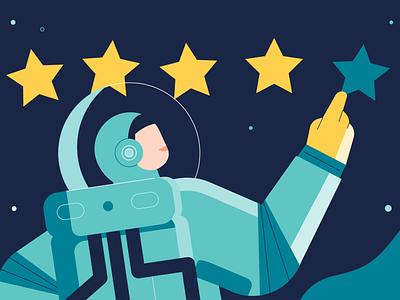 Rating night dark space floating feedback star stars universe rating astronaut flat design illustration