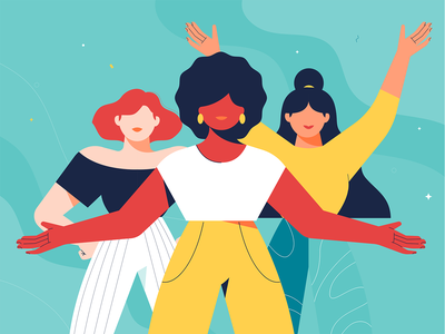 Power Poses for Women's Day empowerment women girl mental health happy emotions mentalhealth women in illustration girls women empowerment power poses womens march womens day flat design illustration
