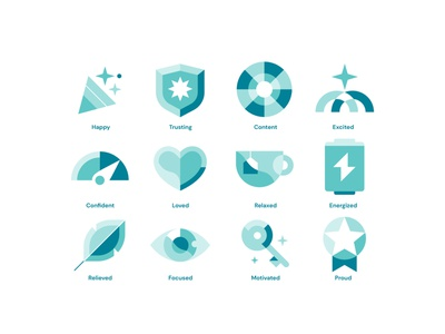 Positive Emotions mental mentalhealth proud motivated focused relieved energized relaxed loved confident excited content trusting happy balanced cool emotions icons flat design illustration