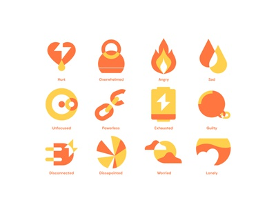 Negative Emotions emotions negative mental health awareness mentalhealth lonely worried dissapointed disconnected guilty exhausted powerless unfocused sad angry overwhelmed hurt icons flat design illustration